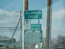 Alloways Creek - cuinton bridge - signs